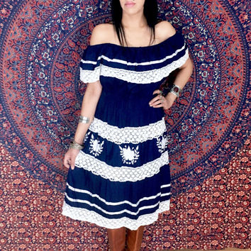 Vintage 70s Mexican Navy Blue Off Shoulder Cotton White Crochet Lace Embroidered Peasant Bohemian Fiesta Sun Dress S // M // L