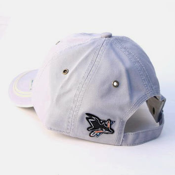 SAN JOSE SHARKS GRAY VINTAGE Style Baseball Hat Cap Embroidered Shark Tooth Logo NWT