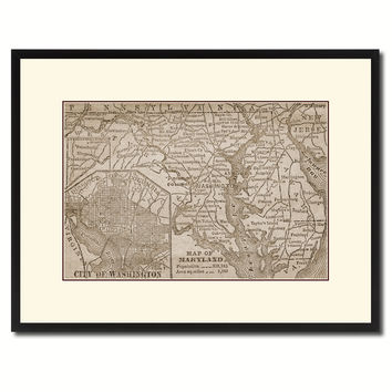 Maryland Vintage Sepia Map Canvas Print, Picture Frame Gifts Home Decor Wall Art Decoration
