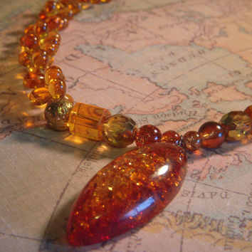 Glittering Fiery Amber Tones Necklace
