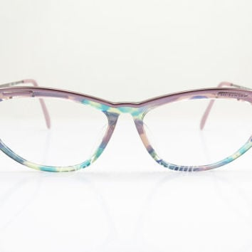 Vintage Eyeglasses ,  Jil Sander , Purple and Multicolor , Cat Eye , Kitty , Sunglass Frames , New Old Stock