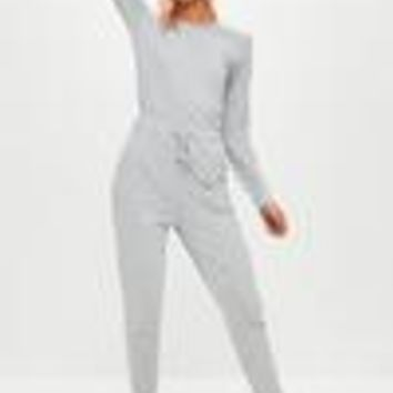 Missguided - Grey Long Sleeve Jumpsuit