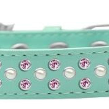 Sprinkles Dog Collar Pearl and Light Pink Crystals Size 18 Aqua
