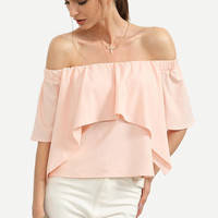 Summer Trendy Romantic Pink Off The Shoulder Ruffle Blouse