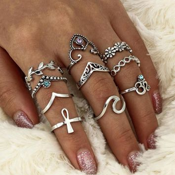 Ten Piece Set Bohemian Vintage Style Silver Stack Rings