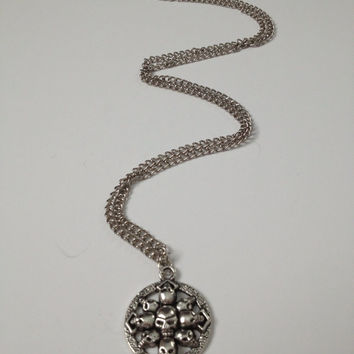HALLOWEEN CLEARANCE: Skull Pendant, Halloween Necklace, skeleton, holiday, trick or treat jewelry