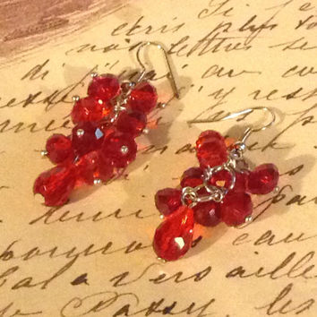 "Handmade Clear Ruby Red Faceted Crystal Rondelle and Teardrop 2"" Long Earrings #CHEPG019-BK"