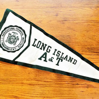 Long Island A&T Pennant, Vintage Pennant, Agriculture Technical, Farmingdale New York, Vintage College Memorabilia