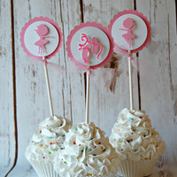 Ballet Silhouette Cupcake Toppers (set of 12)