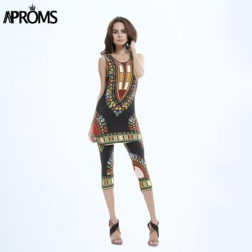 Aproms Summer Women Clothing Set Vintage African Tribal Print Elastic Sheath Tank Top and Pants 2 Piece Set