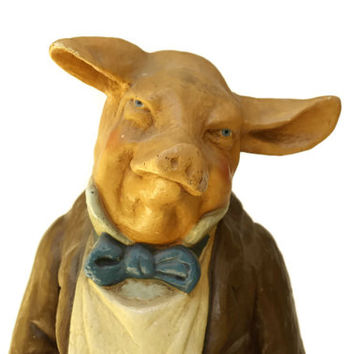 Giant Antique Pig Statue. French Butchers Window Display Model. French Advertising Shop Display Mannequin.