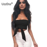 UZZDSS Sexy Criss-Cross Bandage Crop Tops Women 2018 Summer Black Strapless Backless Cropped Tank Top Short Party Top Dentelle