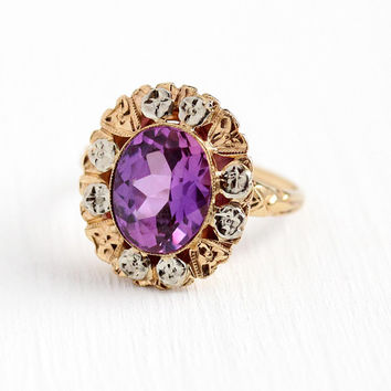 Art Deco Ring - Vintage 10k Rosy Yellow & White Gold Color Change Stone -  Size 5 Violet to Pink Flower Two Tone Late 1930s Fine Jewelry
