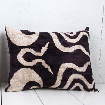 16 x 22 Decorative Pillow Accent Pillow Throw Pillow Ikat Pillow Cover Silk Pillow Black Velvet Ikat Cushion - 03690-101