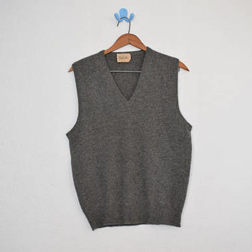 FREE usa SHIPPING vintage Apparel men's cashmere sweater vest pullover retro hipster nerdy geek size S