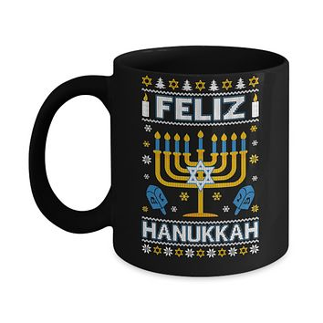 Happy Hanukkah Ugly Sweater Feliz Chanukah Menorah Mug