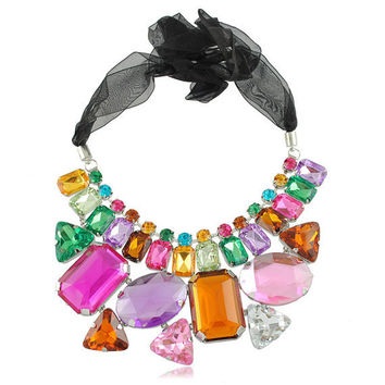 colorful statement Necklace, kate spade Necklace, geometric Necklace, Crystal Necklace, J crew Necklace, rhinestones