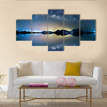 Night Sky With Stars Over Mountain Multi Panel Canvas Wall Art