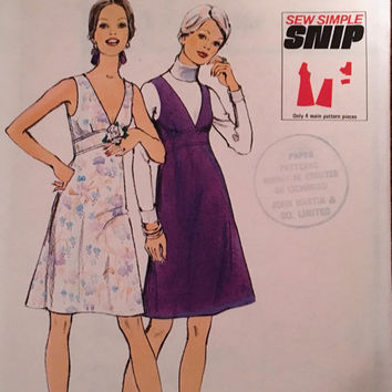 "Vintage Style Sewing Pattern 4208 for ""Dress or Pinafore Dress"" From 1973 / Size 12 Bust 34"