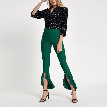 Dark green frill hem trousers - Flares - Trousers - women