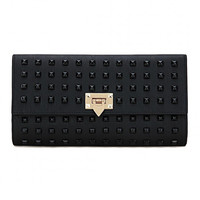Black Studded Leather-look Clutch Bag with Shoulder Strap