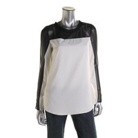Campaigne Womens Sateen Mesh Inset Blouse