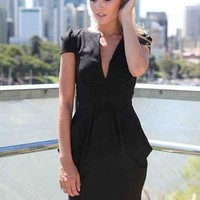 Black Skater Dress with Deep V-Front and Pleat Detail