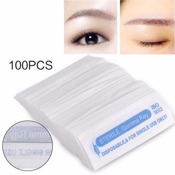 100Pcs/Set Microblading Eyebrow Tattoo Machine Stainless Steel Round Disposable Tattoo Needle Pin Permanent Makeup Accessories