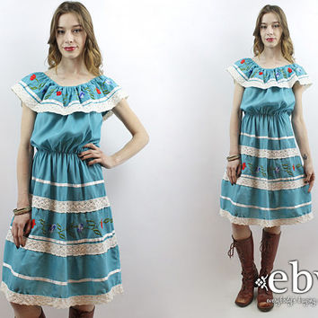 9c4c3e349789 Mexican Fiesta Dress Mexican Dress Party Dress Embroidered Dress
