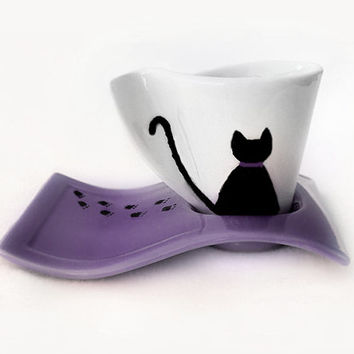 Cat Cup with Saucer, Hand Painted Porcelain, Espresso Cup, Coffee Cup, Lilac