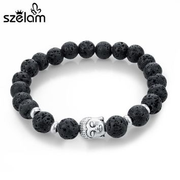 SZELAM 2017 Black Lava Stone Bead Buddha Bracelets for Women and Men Jewelry Natural Stone Bracelets & Bangles