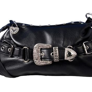 Black Leather Stud & Rhinestone Purse