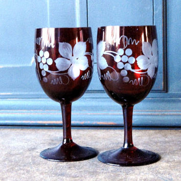 Vintage Red Cut Glass Cordial Glasses, Set of 2, Collectible, Bohemian, Wine, Wedding, Serving, Formal Tableware