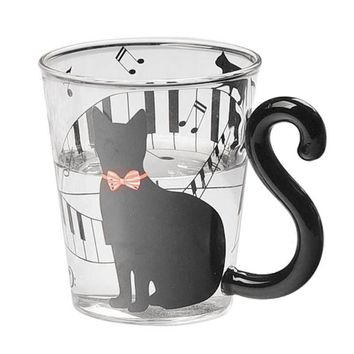 Lovely Cat Glass Mug Tea Milk Coffee Cup