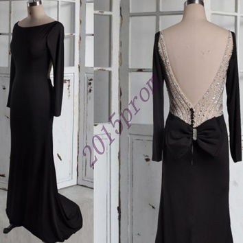 Custom Made Black Backless Mermaid Eveing Dresses,Vintage Full Sleeves Prom Dresses,Beaded Party Dresses Formal Party Grown 2015