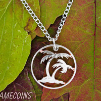 Palm Trees on the beach, cut out thin rim quarter, hand cut coin