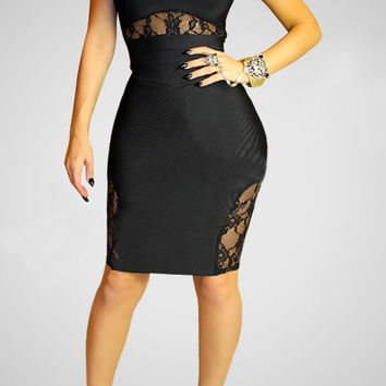 Short Sleeve Lace Accent Mini Bodycon Dress