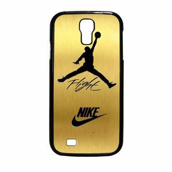 Nike Jordan Flight Jump In Gold Texture Samsung Galaxy S4 Case