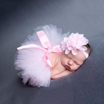 Baby Girl Bebes Clothing Set Newborn Photography Props Tutu Skirt Headband Summer Infant Photo Props Accessories