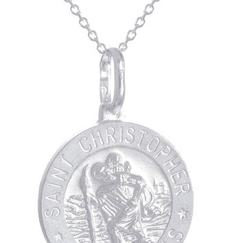 925 Sterling Silver Saint Christopher Protect Us Round Pendant with an 18 Inch Link Necklace - Available in Small, Medium and Large Size Pendant (Small)