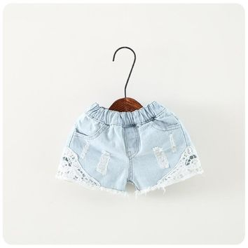 Hot Shorts 2-12Year NEW Summer Fashion Girls Lace Denim Pocket Short Jeans Pants Baby Casual Trousers Kids  Children's Clothing RetaiAT_43_3