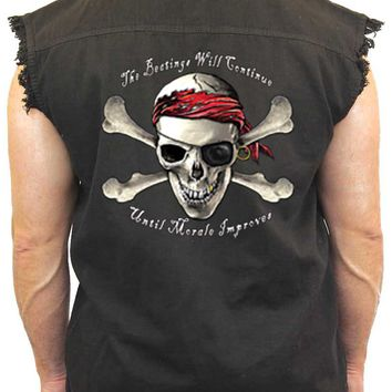Men's Sleeveless Denim Biker Vest Pirate Skull & Crossbones