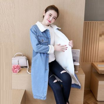 Trendy Warm wool lining Autumn winter denim jacket for women new 2018 European style women long coat Casual denim coat chaqueta mujer AT_94_13