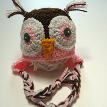 Owl hat.  Newborn size.  Ready to ship.  Pink and brown crochet owl hat.  Photo Prop.