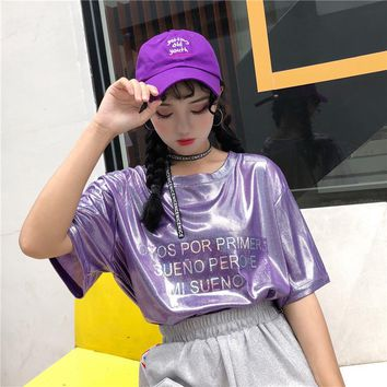 Harajuku Lolita Flash Glittering Letter Shining T Shirt Tops Women Summer Korean Fashion Loose Schoolgirl T-shirt Clothes D'647