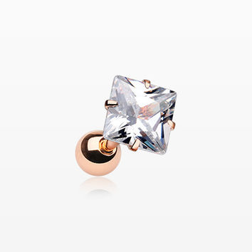 Rose Gold Square Gem Crystal Cartilage Tragus Earring