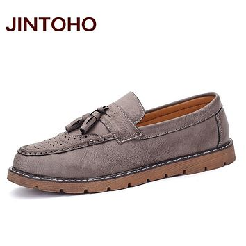 Tassel Men Shoes Fashion Breathable Slip On Men Loafers Classic Men Leather Shoes High Quality Flats Tassel Loafers