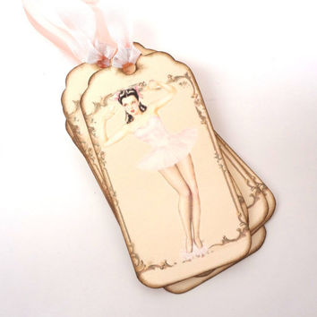Bachelorette Party Tags, Lingerie Shower Tags, Bridal Shower Tags, Favor Tags, Hen Party, Retro Pin Up Girl Tags, Set of 6
