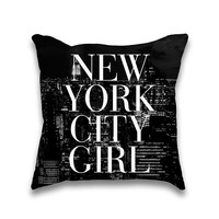 New York City Girl NYC Skyline Print Throw Pillow