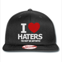 i love haters embroidery - New Era Flat Bill Snapback Cap